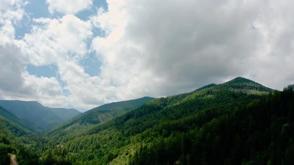 Thumbnail for Aerial Drone View. Green Pine Forest with Canopies of Spruce Trees in Summer Mountains. V3