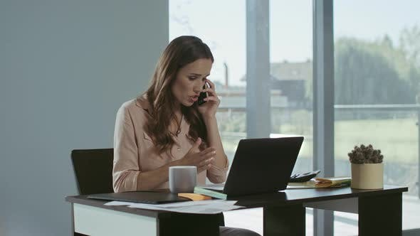 Thumbnail for Business Woman Using Mobile Phone. Concentrated Freelancer Talking Phone