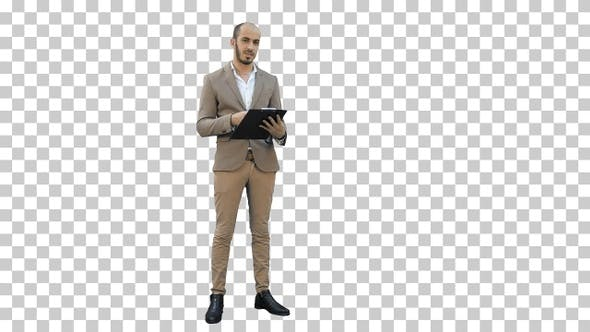 Manager holding clipboard and presenting, Alpha Channel