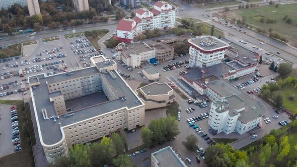 Thumbnail for Aerial Frame. A Small Commercial or Business District of a Provincial Town. There Are Several