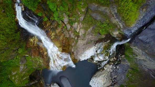 Thumbnail for Aerial view of waterfall in Banos, Ecuador.