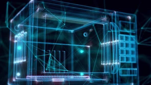 Blue Digital Cyber Microvawe Hologram Close Up 4k