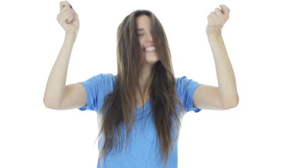 Thumbnail for Celebrating Success, Woman Cheering and Excited