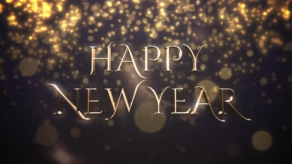 Thumbnail for Animated closeup Happy New Year text, gold particles on blue background