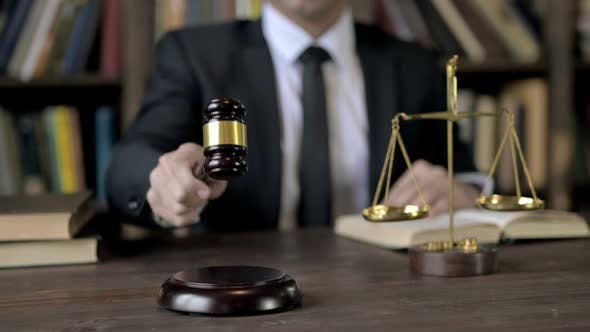 Thumbnail for Close Up Shoot of Judge Hand Bang the Gavel in Court Room