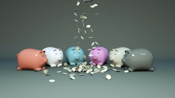 Thumbnail for Coins Fall Next To Piggy Banks
