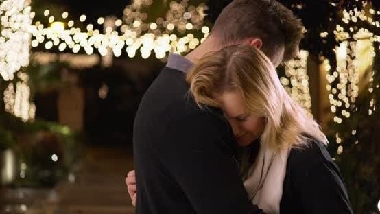 Thumbnail for Portrait of pretty Caucasian woman embracing her boyfriend