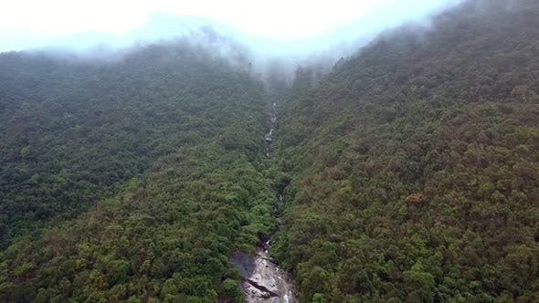 Thumbnail for Wonderful Aerial View Mountain River Runs Among Jungle