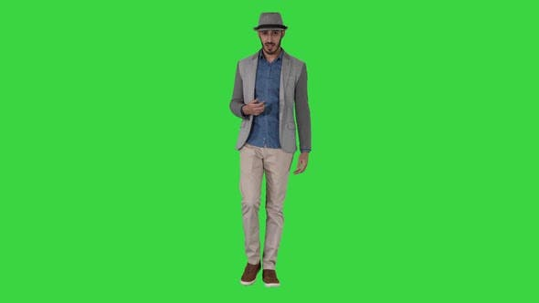 Thumbnail for Trendy Stylish Positive Cheerful Man Wearing Casual Shirt and Sunhat Walking and Talking To Camera