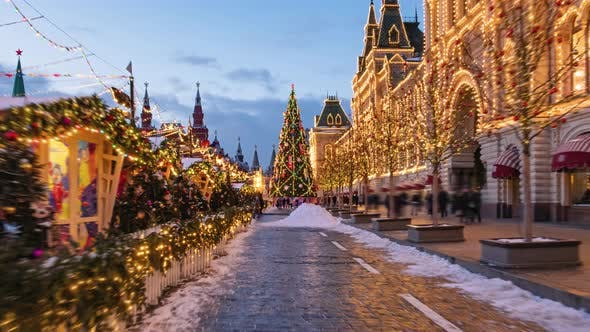 Thumbnail for Walking Hyperlapse Along Decorated Red Square, Moscow