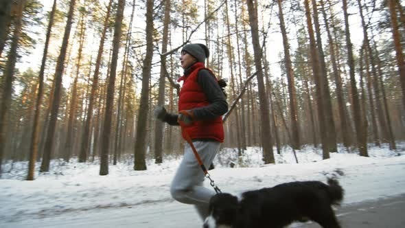 Thumbnail for Woman and Dog Running in Winter Forest