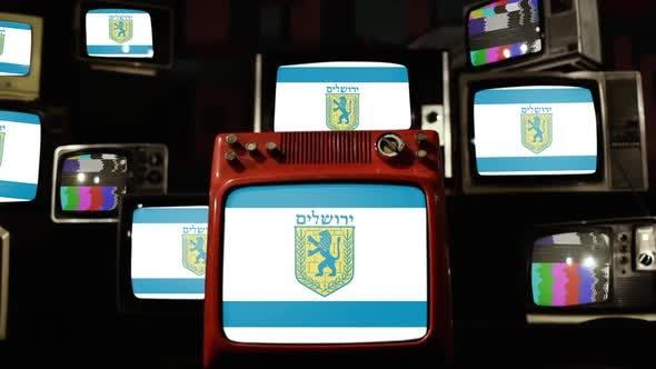 Flag of Jerusalem and Retro TVs.