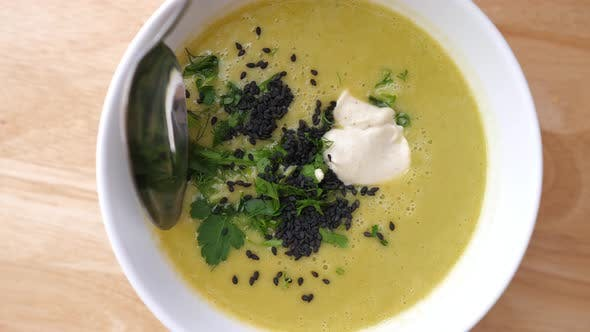 Thumbnail for Vegan Vegetable Cream Soup With Pea, Spinach And Broccoli