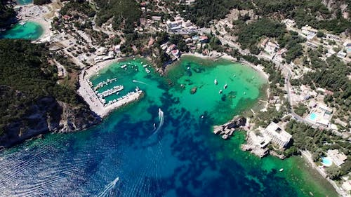 Aerial Drone View to Paleokastritsa Bay Heartshaped Coast with Clear Teal Sea Water
