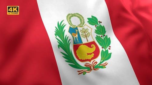 Peru Flag with Emblem - 4K