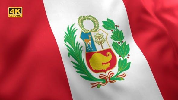 Thumbnail for Peru Flag with Emblem - 4K