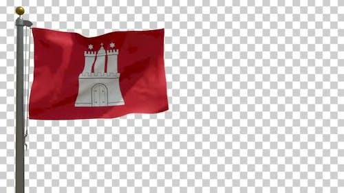Hamburg City Flag (Germany) on Flagpole with Alpha Channel - 4K