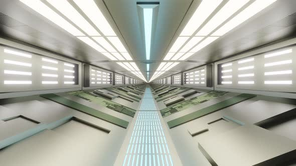 Gangway of a futuristic science fiction building