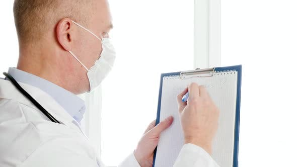 Scientist Holding Clipboard with Coronavirus Question