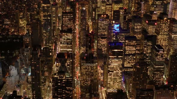 Thumbnail for Cityscape Skyline Buildings at Night Light