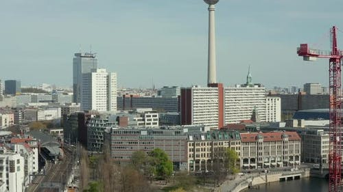 AERIAL: Wide View of Empty Berlin with Spree River and Train Tracks with View of Alexanderplatz TV