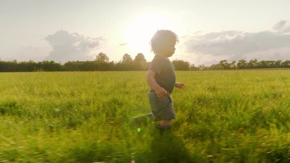 Thumbnail for Joyful Blonde Baby Boy Walking in a Pathway in the Middle of the Wheat Field