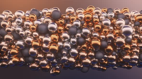 Abstract Random Appearance of Spheres Interacting