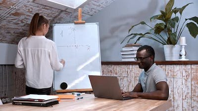 An Algebra Lesson - Woman Drawing Graphs of Functions on the Board and a Black Man Sitting By the