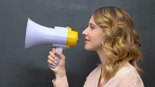 Attractive Young Woman Making Announcement in Loudspeaker, Lucrative Deal Promo
