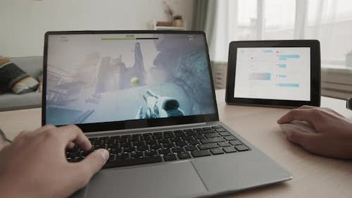 Person Completing Quest in Computer Game