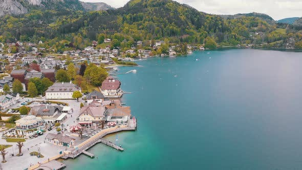 Scenic Aerial View of Mountain Village and Lake, Wolfgangsee, Salzburg, Austria, Alps