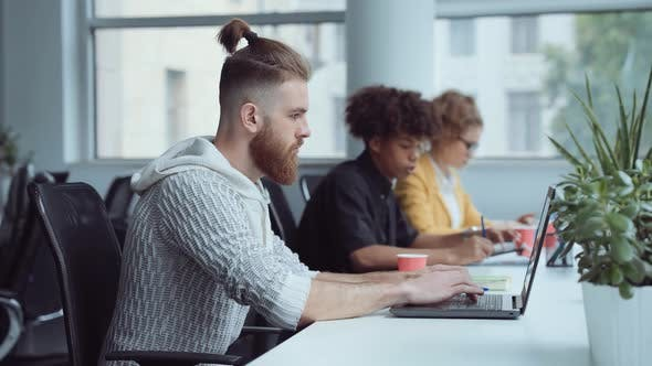 Bearded Hipster Working on Laptop in Office