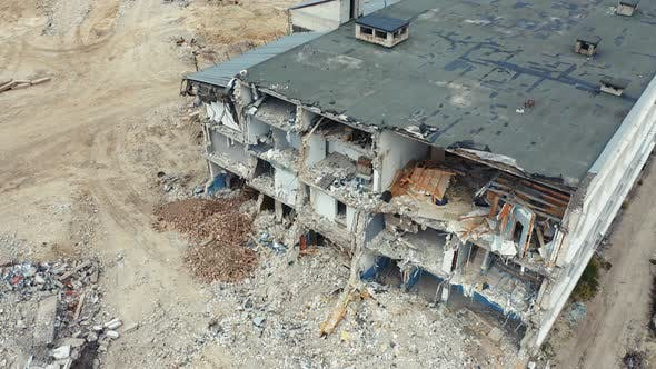 Thumbnail for Fly Over Ruined House After Building Demolition. Drone Shots After the Earthquake