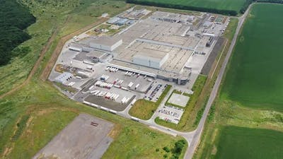 Aerial view of industrial buildings. Aerial top view of industrial area infrastructure
