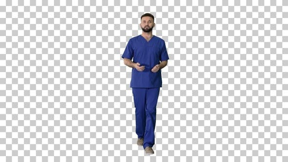 Thumbnail for Male doctor surgeon talking while walking, Alpha Channel