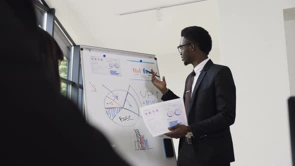 Thumbnail for Young Businessman Conducts Presentation Using Whiteboard