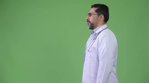 Profile View of Handsome Persian Bearded Man Doctor