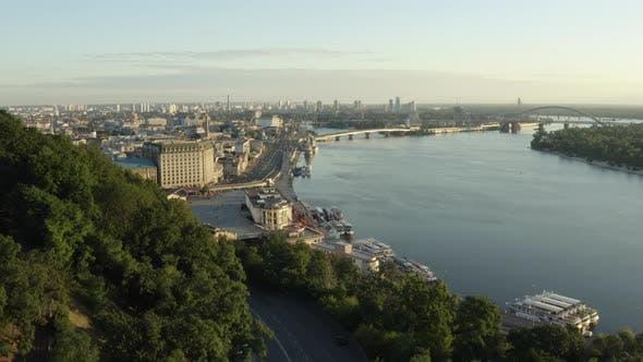 Flying Over the Postal Square in Kyiv, Ukraine. Sunrise Over Pochtova Metro Station. Aerial View of