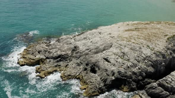 Cover Image for Clean Sea Waves And Rocks Aerial View