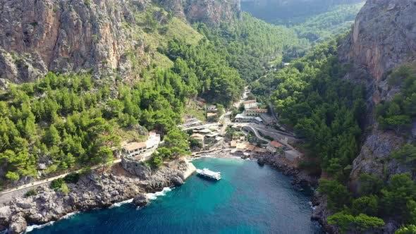 Thumbnail for Aerial Drone Video Footage of Port De Sa Calobra Bay, Mallorca