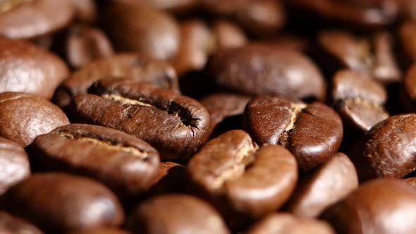 Thumbnail for Pile of Roasted Coffee Beans Rotating. Close Up