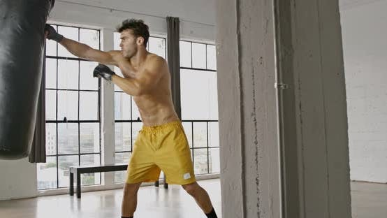 Cover Image for Athletic Male Boxing Slow Motion