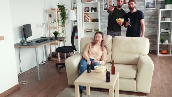 Thumbnail for Old Friends Relaxing Together Watching Tv and Drinking Beer