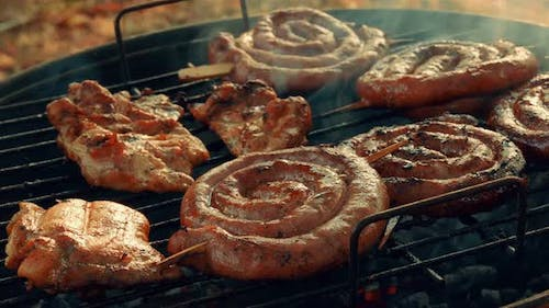 Close-up Barbecue (BBQ) Shot Showing Pork, Beef, Poultry and Chicken Meat