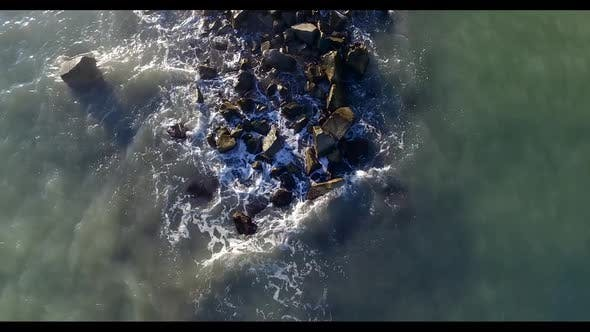 Thumbnail for Sea Waves Beating Against the Rocks. Shooting From Above