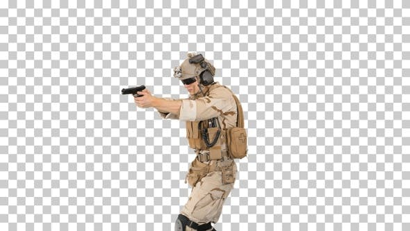 Cover Image for Soldier walking and aiming with a pistol, Alpha Channel
