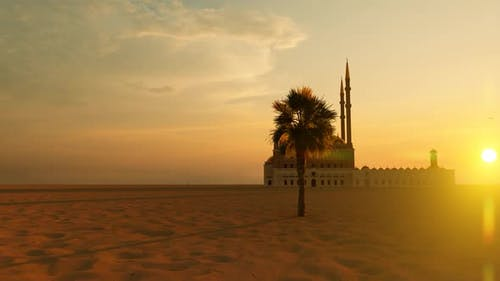 Grand Mosque with 4 Minarets in the Desert