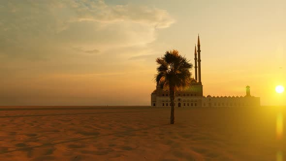 Thumbnail for Grand Mosque with 4 Minarets in the Desert