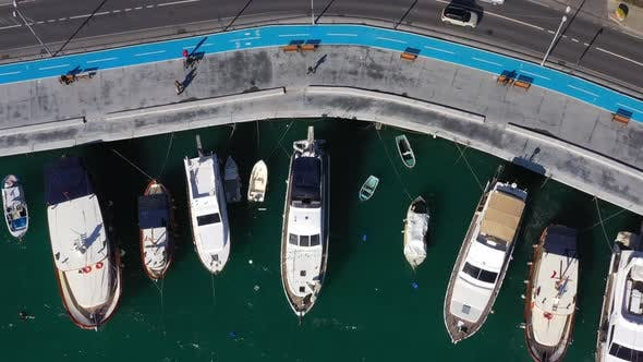 Cover Image for Istanbul Bebek Bosphorus Marine And Boats Aerial View 2