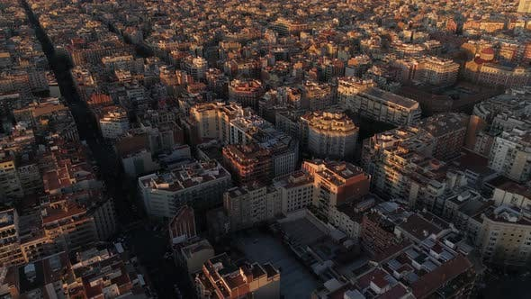 Thumbnail for Typical Square Quarters of Barcelona Aerial View